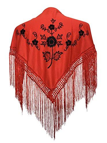 La Señorita Spanischer Manton Flamenco, Tuch/Schal - Rot Schwarz Kinder