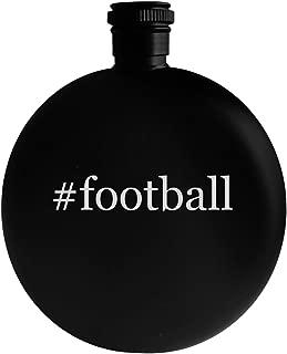 #football - 5oz Hashtag Round Alcohol Drinking Flask, Black