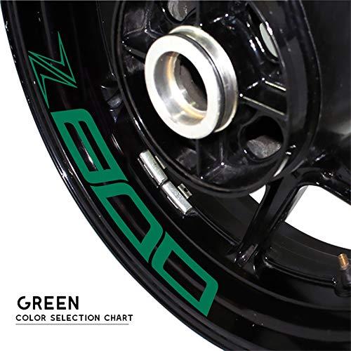Uytkagz Calcomanías modificadas de la Motocicleta Rueda de la Rueda reflexiva Impermeable Impermeable Personalizado Adhesivo Personalizado Apto for Kawasaki Z800 Z 800 (Color : Reflective Green)