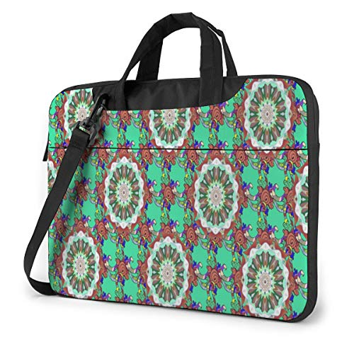 Turquoise Bohemian Style Laptop Bag Protective Case Computer Messenger Briefcase Women Men 14'