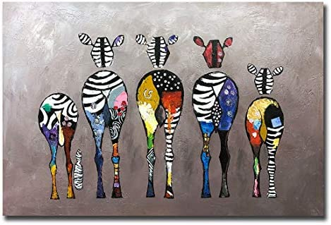 V inspire Art 24x36 Inch Contemporary Hand Painted Animal Art Zebra Acrylic Canvas Oil Painting product image