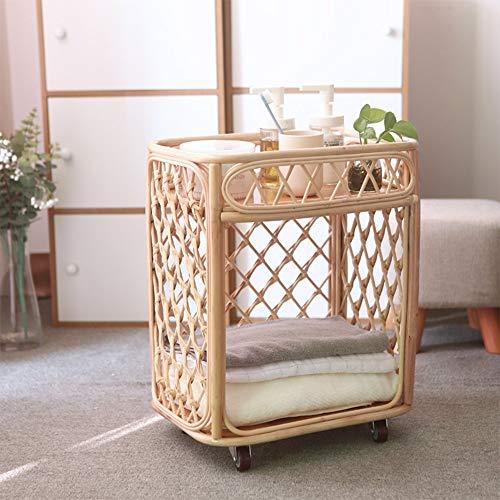 WangQ Carrito de Estante, estantes de ratán Hermosa Conveniente Sala de Estar Comedor Cocina Estudio Estante, Color Madera, 2 tamaños Carro de Cocina (Size : 40X28X50CM)