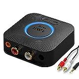 1mii B06LL Receptor Bluetooth 5.0 HiFi, Adaptador Audio Bluetooth 12hrs de Reproducción para Estéreo Hogar, Salida AUX 3,5mm/RCA, AptX de Baja Latencia, Audio 3D Surround para Altavoz, Amplificador