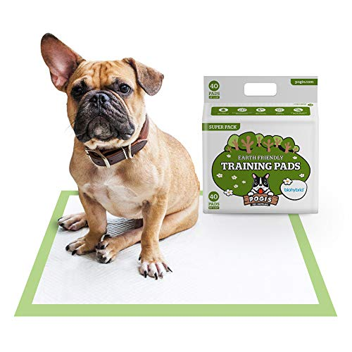 Pogi's Training Pads (40-Count) (24x24in) - Large, Super-Absorbent, Earth-Friendly Puppy Training Pads for Small to Medium Sized Dogs