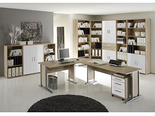 möbel-direkt Büro Office Smart Sonoma Weiß (Büro Office Smart 10 teilig Sonoma Weiß)