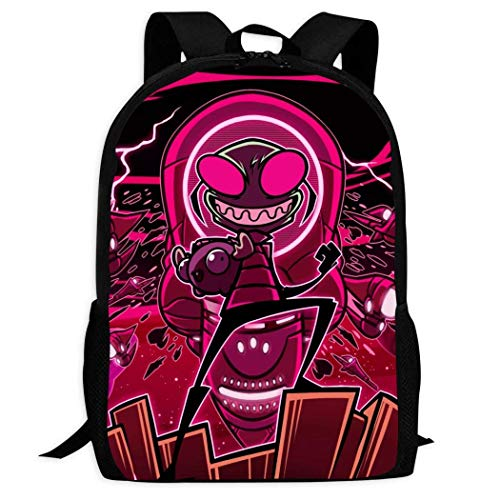 XCNGG Zaino per stampa full frame per adulti Zaino casual Zaino per scuola Inva-der Zim School Backpacks 3D Printed Bookbags Daypack Shoulder Lightweight Bag Laptop, Fashion Large Capacity Casual Trav