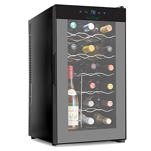 NutriChef PKTEWC180 15 Bottle Compressor Cooler Refrigerator Red and White Wine, Champagne Chiller, Counter Top Cellar, Quiet Operation