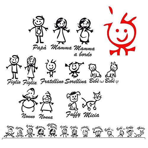 Adesivi Famiglia a bordo personalizzati, Adesivi per auto, Adesivo Bimbo a bordo, Adesivo Personalizzato bebe a bordo, Sticker baby on board, Gatto a bordo