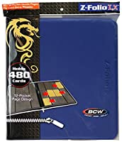 12-pocket z-folio LX Trading Card albums, bleu