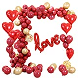 86 piezas de globos de helio rojo de amor con globos de látex para el día de San Valentín Boda nupcial Aniversario y decoración de compromiso