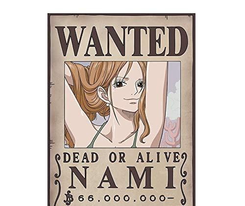 One Piece Bilderrahmen aus Holz, 30 x 40 cm, Motiv Nami Wanted Dead Gold Alive