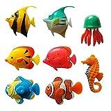 Pescado de plástico realista artificial para los adornos del tanque del acuario | Patrones aleatorios en movimiento peces flotantes...