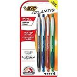 BIC Atlantis Original Retractable Ball Pen, Medium Point (1.0 mm), Assorted, 4-Count
