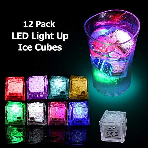 Leuchtende LED-Eiswürfel für Getränke, Wein, Whisky, wechselnde Farben, Flüssigkeitssensor, wasseraktiviert, wiederverwendbar, ideal für Partys, Weihnachten, Hochzeit, Dekoration, Geschenk, 12 Stück