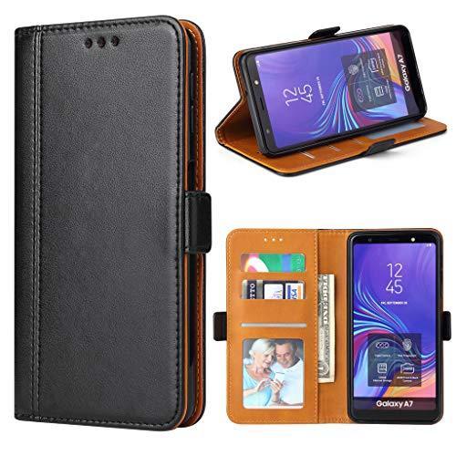 Bozon Galaxy A7 2018 Hülle, Leder Tasche Handyhülle für Samsung Galaxy A7 (2018) Schutzhülle Flip Wallet mit Ständer & Kartenfächer/Magnetverschluss (Schwarz)