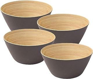 BIOZOYG 4 Piezas Cuenco de bambú de Primera Calidad Negro Antracita a 460 ml I vajillade bambú Cuenco de Cereales Cuenco de Fruta Cuenco de Madera Cuenco de la Ensalada