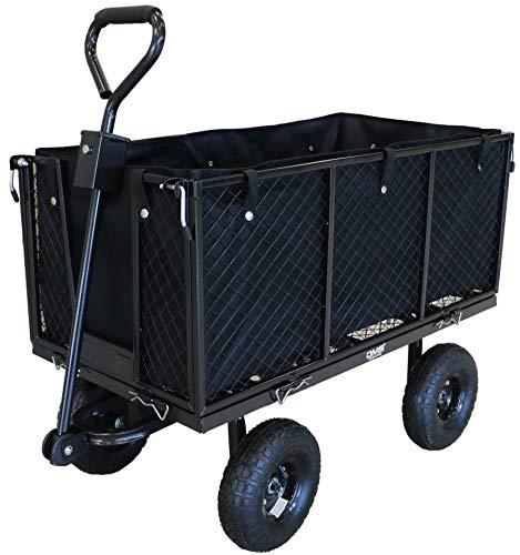DMS Bollerwagen I Transportwagen I Gartenkarre I Gerätewagen I Handwagen I Luftbereifung I Profilräder I Schwarz