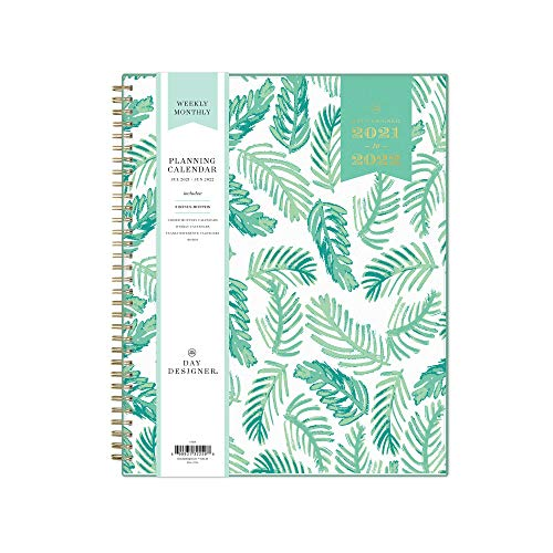 """Day Designer for Blue Sky 2021-2022 Academic Year Weekly & Monthly Planner, 8.5"""" x 11"""", Frosted Flexible Cover, Wirebound, Palms (132259)"""