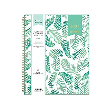 Day Designer for Blue Sky 2021-2022 Academic Year Weekly & Monthly Planner, 8.5″ x 11″, Frosted Flexible Cover, Wirebound, Palms (132259)
