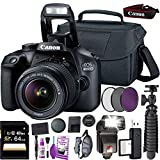 Canon EOS 4000D (Rebel T100) DSLR Camera and EF-S 18-55 mm f/3.5-5.6 is III Lens (International Version) + 64GB Memory Card + Camera Bag + MiniTripod + Flash