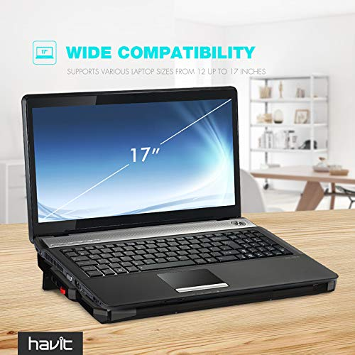 Product Image 8: havit 5 Fans Laptop Cooling Pad for 14-17 Inch Laptop, Cooler Pad with LED Light, Dual USB 2.0 Ports, Adjustable Mount Stand (Black)