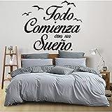 Pegatina de pared española con cita de vinilo, letras de aves, calcomanía de fondo, artista de la pared, decoración del hogar, papel tapiz, otro color, 55x68cm