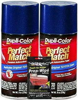 Dupli-Color Stellar Blue Pearl Exact-Match Automotive Paint for Toyota Vehicles - 8 oz, Bundles Prep Wipe (3 Items)