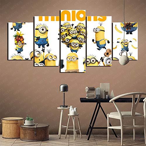CELLYONE MEEKIS Cuadro de lienzo 5 piezas decoración del hogar pintura (Minions 22) carteles HD impresos, regalo de ilustraciones 100x50cm sin marco