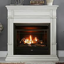 Duluth Forge FDF300T Dual Fuel Ventless Fireplace Insert, T-Stat Control, 26,000 BTU, Antique White