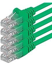 Cat6 0,25 m grön 5 delar nätverkskabel patchkabel Cat6 Lan-kabel 1000 Mbits Ethernet Lan grön 5 st kompatibel med CAT5 cat5e CAT7 CAT8