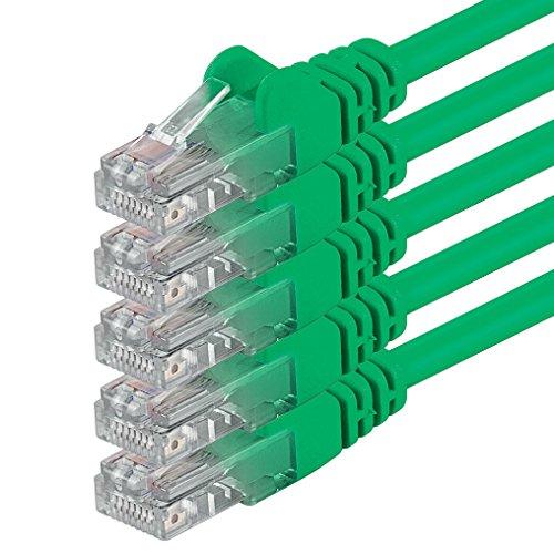 1aTTack.de 1m Cavo di Rete verde - 5x - Cat.6 Ethernet Gigabit Lan RJ45 10 100 1000 Mbit s - Cavo Patch UTP compatibile con Cat.5 Cat.5e Cat.7 Cat.8 - verde - 5x - 1m
