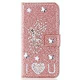 Miagon pour Samsung Galaxy S20 Plus Portefeuille Coque,3D Glitter PU étui en Cuir Diamant Fermoir Magnétique Stand Strass Housse,Ange Or Rose