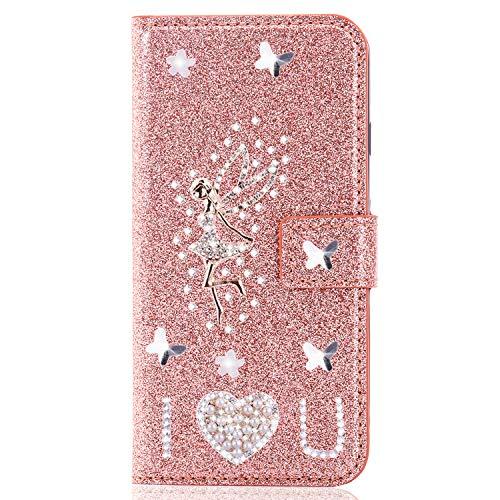 Miagon für Huawei P20 Pro Glitzer Brieftasche Hülle,3D Diamant PU Leder Case Kartenslots Ständer Strass Wallet Flip Cover,Engel Roségold