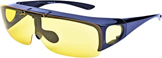 Br'Guras 夜間用オーバーサングラス ナイトドライブ用サングラス ドライブサングラス 跳ね上げ式レンズ イエローレンズ ナイトビジョン 夜間運転 メガネの上から