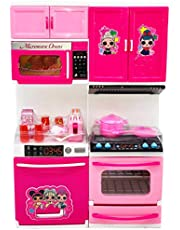 Toyify Boys and Girls Pretend Kitchen Play set with Accessories Pots, Pans, dishes, cups, utensils, food toys with Adorable Travel Suitcase (Light and Sound | Colour May Vary)