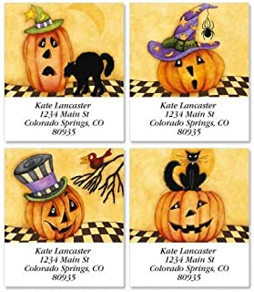 Jack and Friends Square Halloween Return Address Labels (4 Designs) - Set of 144 1-1/2 x 1-3/4 Self-Adhesive, Flat-Sheet labels