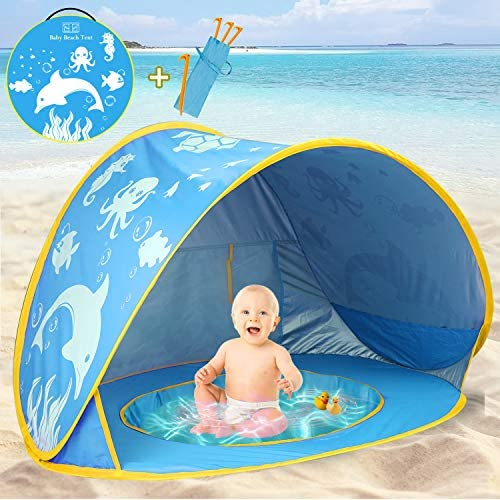 TURNMEON Baby Beach Tent with Pool 2020 Upgrade Easy Fold Up Pop Up Unique Ocean World Baby product image