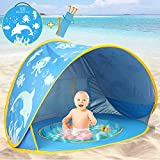 TURNMEON Baby Beach Tent with Pool,2020 Upgrade Easy Fold Up & Pop Up Unique Ocean World Baby Tent,50+ UPF UV Protection Outdoor Tent for Aged 0-4 Baby Kids Parks Beach Shade (Blue)
