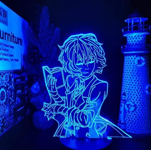 N\C 3D animación noche luz control remoto creativo dormitorio lámpara de escritorio ilusión color cambiante lámpara de escritorio