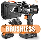 TACKLIFE Perceuse Visseuse sans Fil, Perceuse Brushless à Percussion, 20+3 Couples de Serrage (65N.m), 2 Batteries Lithium-ion 2000mAh, Mandrin Métal 13mm, Charge Rapide 1h avec LED, BLPCD02B