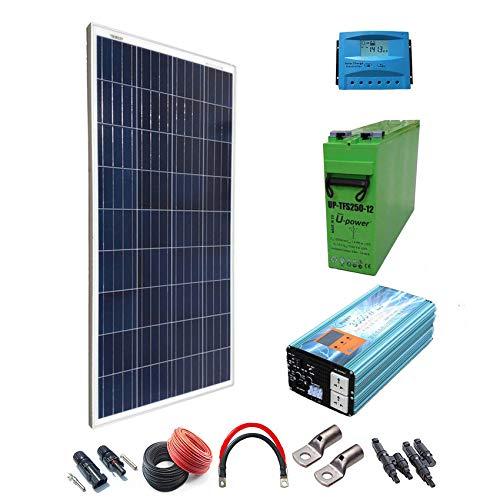 Kit Solar 12v 300W/1500W día Regulador de carga PWM 20A Batería AGM TFS-250AH Inversor 3000w onda pura cargador 50Ah
