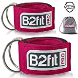Ankle Straps for Cable Machines by B2FIT PRO - Premium Padded Double D-Ring Ankle Cuffs for Gym...