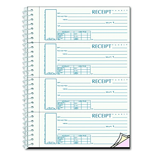 Spiralbound Unnumbered Money Receipt Book, 2 3/4 x 7, Three-Part, 120 Sets/Book