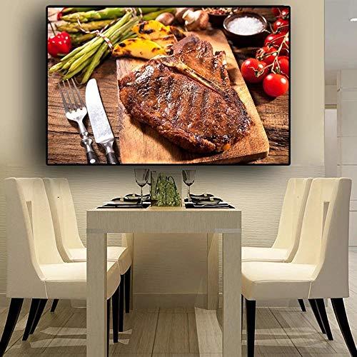 SJLAQ Cuchillo y Tenedor de Carne Vegetal Cocina Lienzo Pintura Arte de la Pared Impresión de imágenes Póster Decoración para Sala de estar-50x70cmx1 pcs Sin Marco