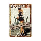 Thomas655 Cartel de Metal Marines USMC Pin Up Chica Fuerzas Armadas Hombre Cueva Hombre Cueva Decora...