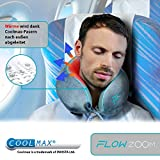 Hybrid-Nackenkissen von FLOWZOOM | Reise-Nackenkissen aufblasbar mit Memory-Foam| Nackenhörnchen aufblasber | Aufblasbares Nackenkissen für Flugzeug, Auto und Zug - Modell Duo grau - 3