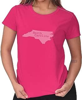 North Carolina State Map Shape Souvenir NC Ladies T Shirt