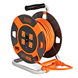 Black + Decker Retractable Extension Cord, 75 ft, with 4 Outlets - 14AWG SJTW Cable - Heavy-Duty Outdoor Power Cord Reel w/ Multi-Plug Extension, Easy Handle Rewind - Premium Cord Retractor for Garden