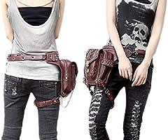 FiveloveTwo® Men Women Multi-purpose Tactical Drop Leg Arm Bag Pack Hip Belt Waist Messenger Shoulder Fanny Packs Steampunk Bag Wallet Purse Pouch Bag Red Brown #3