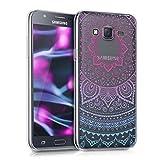 kwmobile Funda Compatible con Samsung Galaxy J5 (2015) - Carcasa de TPU y Sol hindú en Azul/Rosa Fucsia/Transparente